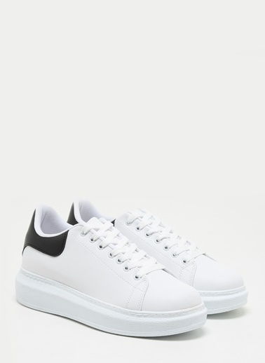 F By Fabrika Erkek Siyah Cilt/Beyaz Sneakers COLMAN Renkli